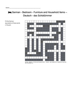 German Vocabulary - Bedroom - Furniture and Household Items Crossword Puzzle