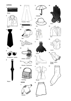 German Vocabulary - Clothing and Accessories Crossword Puzzle