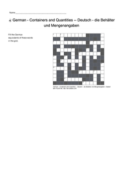 German Vocabulary - Containers and Quantities Crossword Puzzle