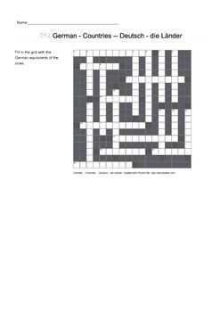 German Vocabulary - Countries Crossword Puzzle