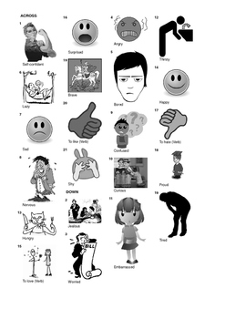 German Vocabulary - Emotions and Feelings Crossword Puzzle