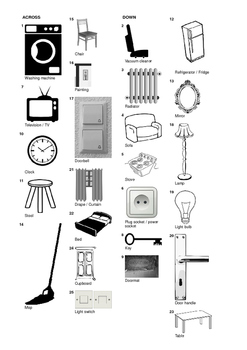 German Vocabulary - Furniture and Household Items Crossword Puzzle