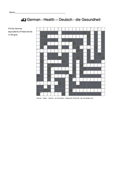 German Vocabulary - Health Crossword Puzzle