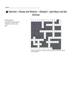 German Vocabulary - House and Rooms Crossword Puzzle