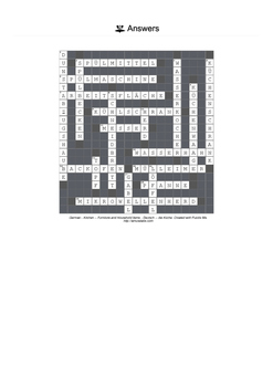 German Vocabulary - Kitchen - Furniture and Household Items Crossword Puzzle