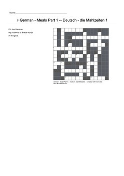 German Vocabulary - Meals Food and Drink Crossword Puzzle