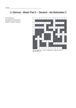 German Vocabulary - Meals Food and Cutlery Crossword Puzzle