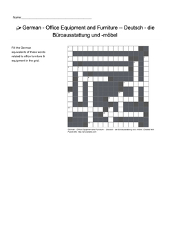 German Vocabulary - Office Equipment and Furniture Crossword Puzzle