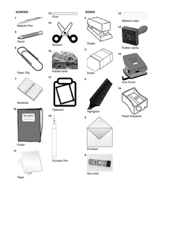 German Vocabulary - Office Supplies and Stationery Crossword Puzzle