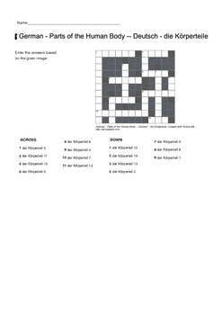 German Vocabulary - Parts of the Human Body Crossword Puzzle