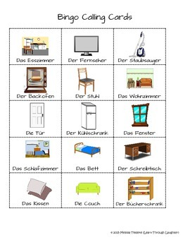 German Vocabulary Practice Bingo Game: Das Haus