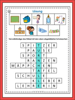 German Vocabulary Puzzles  Schule