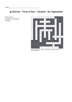 German Vocabulary - Times of Day Crossword Puzzle