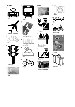 German Vocabulary - Travel and Means of Transport Crossword Puzzle