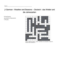 German Vocabulary - Weather and Seasons Crossword Puzzle