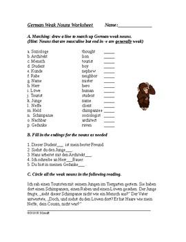 German Weak Nouns / N-Nouns Worksheet: Schwache Nomen