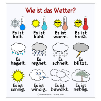 free german weather posters or handouts by language party house tpt. Black Bedroom Furniture Sets. Home Design Ideas