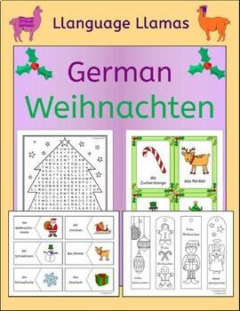 German Christmas Weihnachten vocabulary activities, puzzles, games, cards