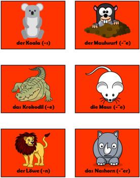 German Wild Animals Vocabulary - 47 sildes!