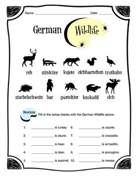 German Wildlife Animals Worksheet Packet