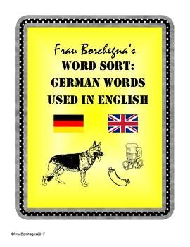 German Words Used in English Word Sort (First Week or Sub Plans)