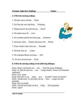 German Worksheet ~ Adjective Endings