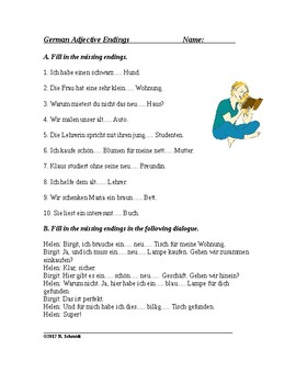 German Adjective Endings - Worksheet and Handout