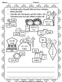 German Worksheet Freebie 4 - Kostenloses, deutsches Arbeitsblatt