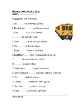german stem changing verbs worksheet helfen essen etc tpt. Black Bedroom Furniture Sets. Home Design Ideas