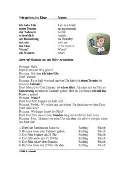 Telling Time and Making Plans in German - Reading + Worksheet - Die Uhrzeit
