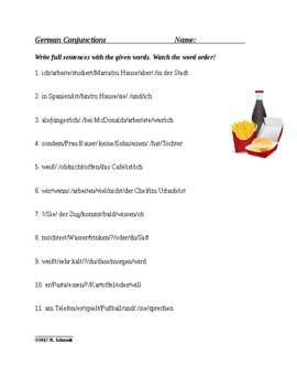 German Word Order Worksheets Bundle