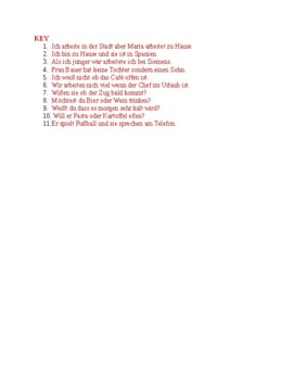 German Word Order Worksheets - 4 Sheets: Present, Future, Conjunctions, Modals