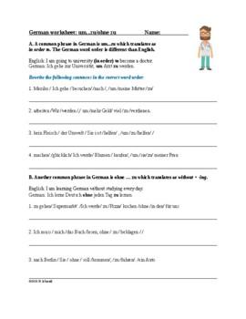 German Word Order With um...zu, damit & ohne zu (2 worksheets)