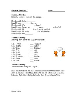 German Beginner Worksheets for Review #1 - 5 pages!
