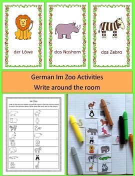 German Zoo Animals Bundle - Im Zoo Activities, Puzzles, Word Wall and Bingo