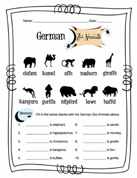 German Zoo Animals Worksheet Packet