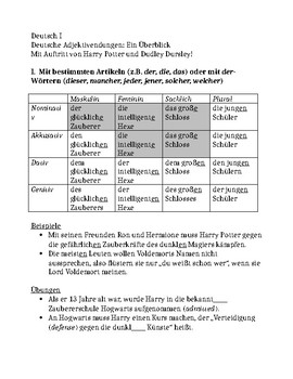 German adjective endings explanation and practice with Harry Potter