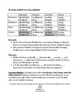 German adjective endings explanation and practice with Harry Potter (GER 2)