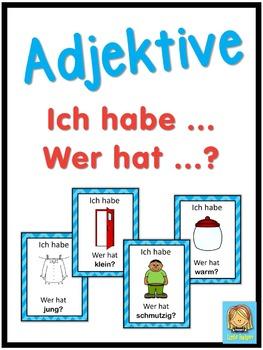 German adjectives  Ich habe ... Wer hat ...? game