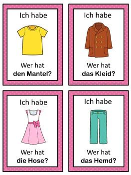 German clothes  Ich habe ... Wer hat ...? game