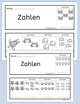 German colors, numbers, fruit, vegetables - fun flipbooks to color and assemble