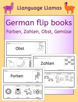 German colors, numbers, fruit, vegetables - fun flipbooks