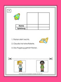 German cut and paste logic puzzles for young beginners