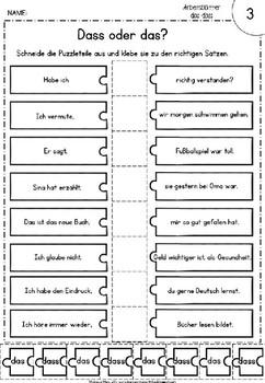 """Das arbeitsblätter und dass Partnerdiktat: """"das/dass"""""""
