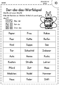 German -der, die, das- bestimmte Artikel- Arbeitsblätter