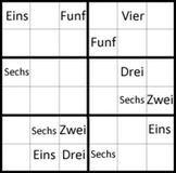 German numbers 1-9 sudoku puzzles great for vocabulary and pattern work