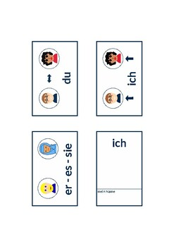 German personal pronouns as images, A1 level