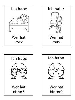 German prepositions  Ich habe ... Wer hat ...? game
