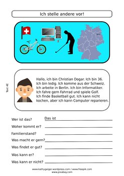 German reading comprehension and writing skills for adults, level A1