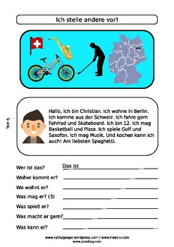 German reading comprehension & writing for A1 levels, youngsters and adults